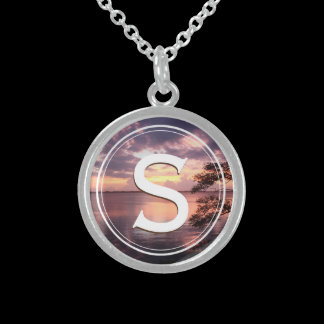 Monogram Life Is Not Measured Quote Sunset Sterling Silver Necklace