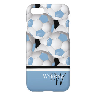 Monogram Light Blue Black Soccer Ball Pattern iPhone 7 Case