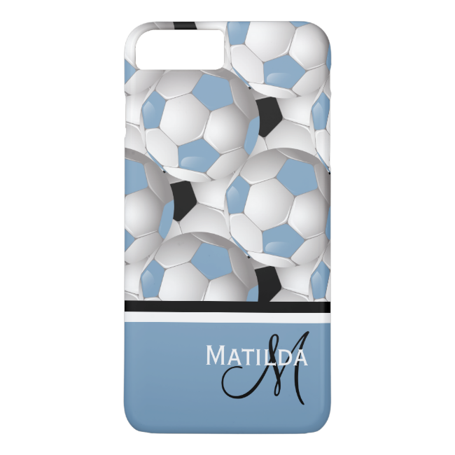 Monogram Light Blue Black Soccer Ball Pattern iPhone 7 Plus Case
