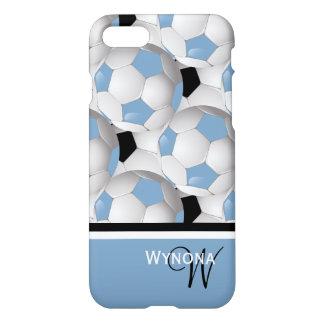 Monogram Light Blue Black Soccer Ball Pattern iPhone 8/7 Case