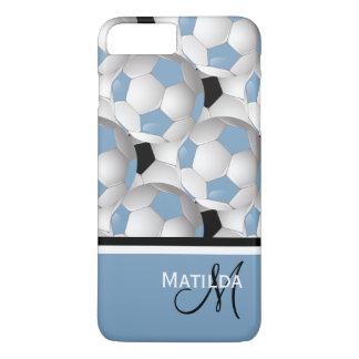 Monogram Light Blue Black Soccer Ball Pattern iPhone 8 Plus/7 Plus Case