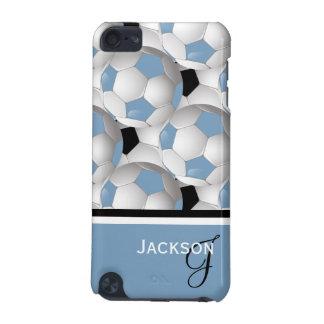 Monogram Light Blue Black Soccer Ball Pattern iPod Touch 5G Case