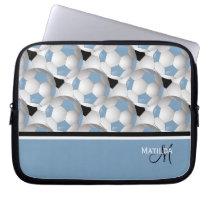 Monogram Light Blue Black Soccer Ball Pattern Laptop Sleeve