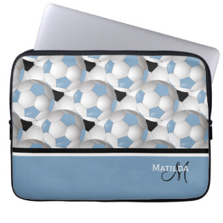 Monogram Light Blue Black Soccer Ball Pattern Laptop Sleeves