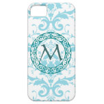 Monogram Light Blue Damask iPhone 5 Case Cover