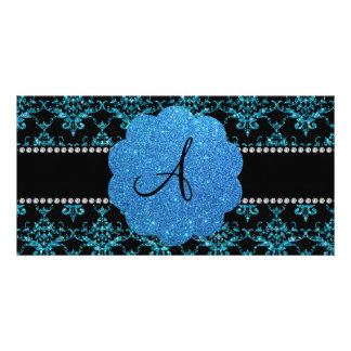 Monogram light blue glitter damask photo card