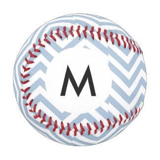 Monogram Light Blue Grunge Textured Chevron Baseball