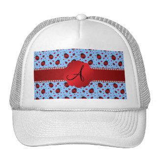Monogram light blue ladybugs hearts trucker hats