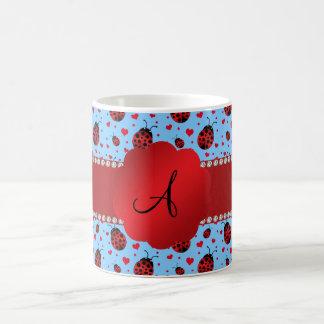 Monogram light blue ladybugs hearts coffee mugs