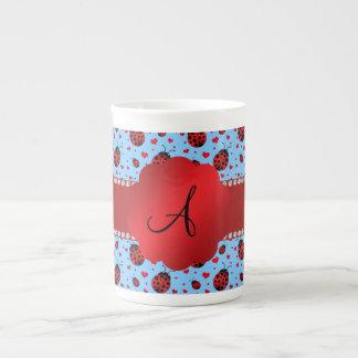 Monogram light blue ladybugs hearts porcelain mugs