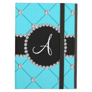 Monogram light blue tuft diamonds case for iPad air