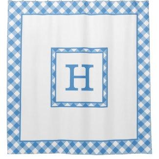 Monogram Light Blue White Buffalo Check Border Shower Curtain