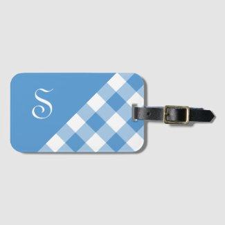 Monogram Light Blue White Buffalo Check Geometric Luggage Tag