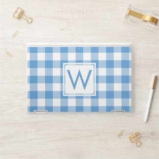 Monogram Light Blue White Buffalo Check Pattern HP Laptop Skin
