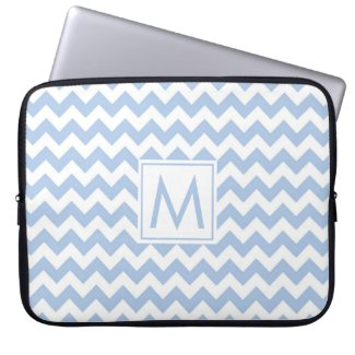 Monogram Light Blue White Chevron Stripe Pattern Computer Sleeve