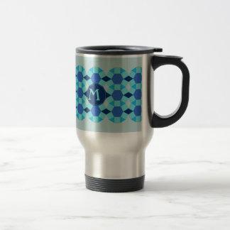Monogram light dark blue pattern travel mug
