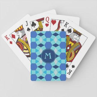 Monogram light dark blue tiles card decks