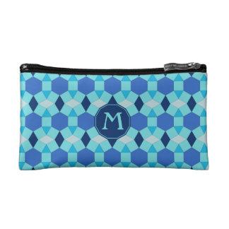 Monogram light dark blue tiles makeup bag