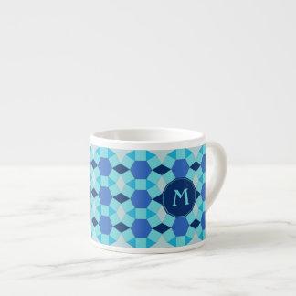 Monogram light dark blue tiles pattern espresso cup