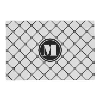 Monogram Light Gray Diamond Paper Placemat Laminated Place Mat
