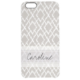 Monogram Light Gray Tribal Ikat Diamond Pattern Uncommon Clearly™ Deflector iPhone 6 Plus Case
