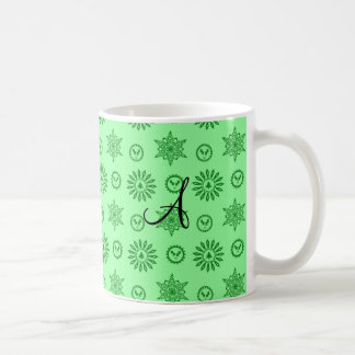 Monogram light green christmas stars snowflakes coffee mug