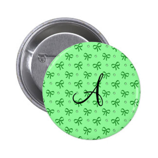 Monogram light green diamonds and bows 2 inch round button