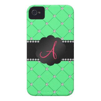 Monogram Light Green diamonds iPhone 4 Case-Mate Case