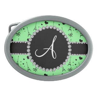 Monogram light green eiffel tower pattern belt buckles
