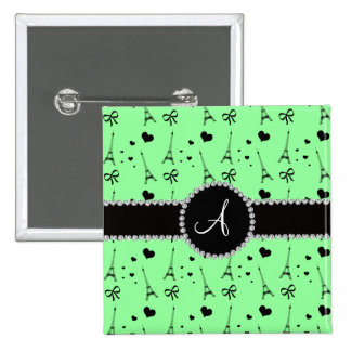 Monogram light green eiffel tower pattern 2 inch square button