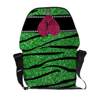 Monogram light green glitter zebra stripes heart messenger bags