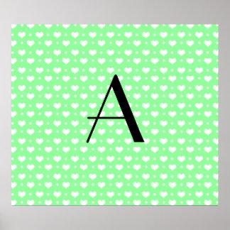 Monogram light green hearts polka dots posters