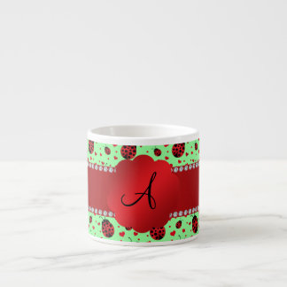 Monogram light green ladybugs hearts espresso cups
