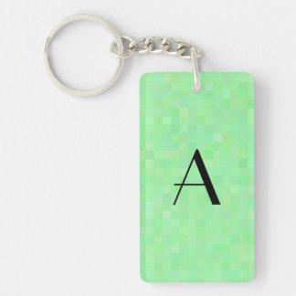 Monogram light green mosaic squares Double-Sided rectangular acrylic keychain