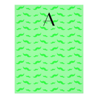 "Monogram light green mustache pattern 8.5"" x 11"" flyer"