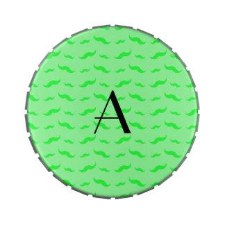 Monogram light green mustache pattern jelly belly candy tin