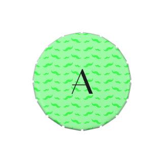 Monogram light green mustache pattern candy tins
