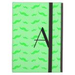 Monogram light green mustache pattern iPad folio case