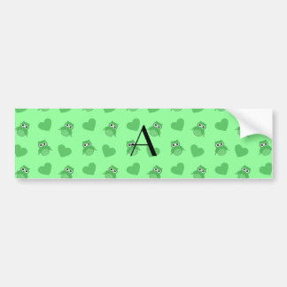 Monogram light green owls and hearts bumper stickers