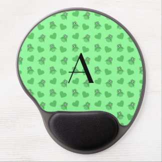 Monogram light green owls and hearts gel mouse mat