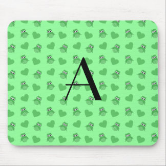 Monogram light green owls and hearts mouse pad