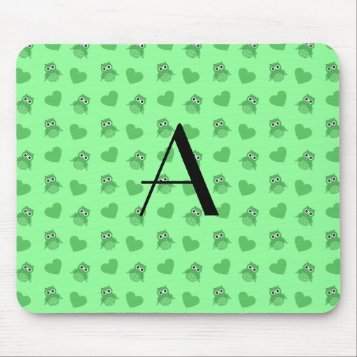 Monogram light green owls and hearts mousepads