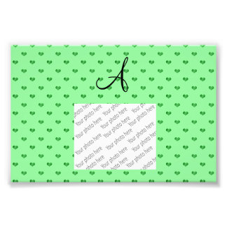 Monogram light green polka dot hearts photo art