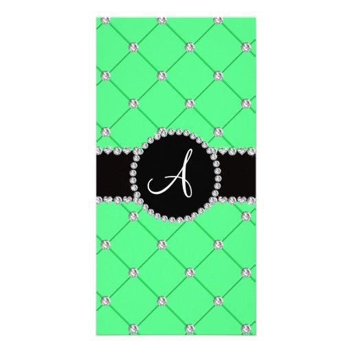 Monogram light green tuft diamonds customized photo card
