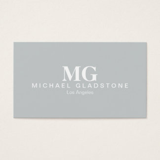Monogram Light Grey Background Business Card
