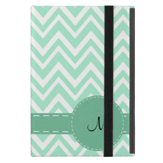 Monogram Light Mint Green and White Zigzag Pattern iPad Mini Cover