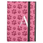 Monogram light pink dog paw prints iPad cover