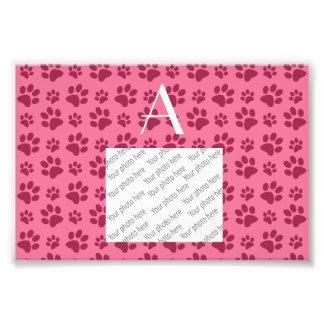 Monogram light pink dog paw prints photo print