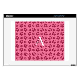 """Monogram light pink dog paw prints 15"""" laptop decals"""