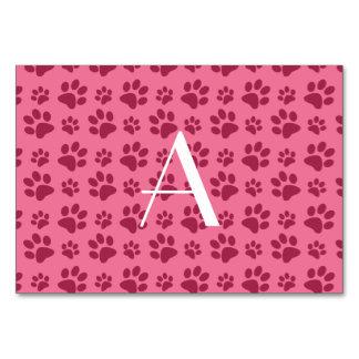 Monogram light pink dog paw prints table card